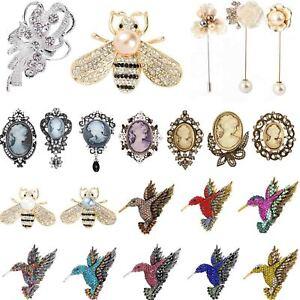 Vintage Hummingbird Bird Rhinestone Pearl Bee Brooch Pin Enamel Insect Gift UK