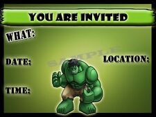 The Hulk Party Invitations with matching envelopes, birthday, 12pack