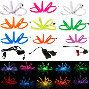 1/2/3/5M Neon LED Light Glow EL Wire String Rope Tube Soft Strip W/ Controller