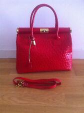 bolso para mujer de piel, natural color rojo(Italy)