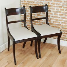 Pair of Antique Original Regency Reeded Mahogany Period Dining Chairs / Hall
