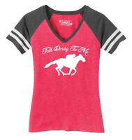 Ladies Talk Derby Me Funny Horse Race Kentucky Derby Shirt Game V-Neck Tee