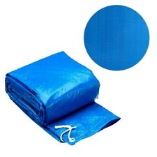 Fast Set 8 10 12 Foot Round PE Pool Debris Cover with Ropes, Blue, Pool cover