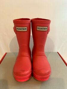 Hunter Kids Girls Rainboots Size 10B 11G Coral Excellent Condition