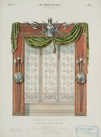 QUÉTON, Großes Glasfenster mit Vorhang, Le Garde-Meuble, 19. Jhd, Farblitho.