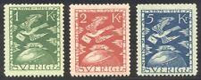 SWEDEN #225-27 Mint NH - 1924 1k - 5k Carrier Pigeion