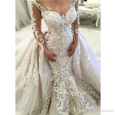 Luxury Mermaid Lace Wedding Dresses Overskirt Applique Long Sleeve Bridal Gowns