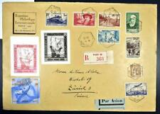 France to Switzerland 1937 Richly Franked Pexip Phila Expo Flight Airmail Cover