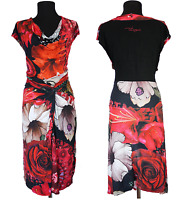 Desigual Dress Size-XXL 2XL Azucena Sleeveless Draped Bodycon Fitted Floral Used
