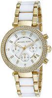 Michael Kors Parker MK6119 Two Tone Gold Glitz White Acetate Womens Watch