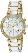 Michael Kors Parker MK6119 Two Tone Gold Glitz White Acetate Womens Watch