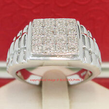 Genuine Diamond Solid Sterling Silver Mens Wedding Ring Band White Gold Finish
