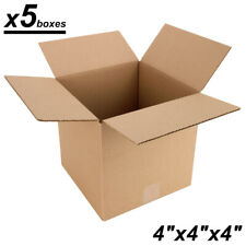 """x5 Small Cardboard Shipping Boxes - 4""""x4""""x4""""in - Kraft Corrugated Mailing..."""