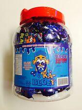 BOX OF 100 KA-BLUEY BLAST SOUR CANDY WITH A BUBBLE GUM CENTRE - BLUE RASPBERRY