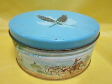 TIN CANISTER & LID VINTAGE TEXAS HISTORY CHISHOLM TRAIL CATTLE DRIVE CORONADO