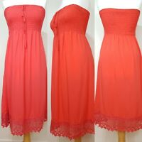 M&S Ladies Coral Orange Sun Midi Dress Size 8 BNWT Summer Holiday Strapless