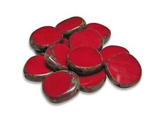 15mm Opaque Red Picasso Czech Glass Table Cut Coin Beads (6) #717