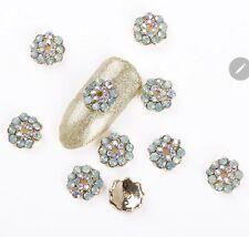 10 x DIY 3D Nail Art Decoration Hearts| Flowers| Silver Alloy Rhinestone Gems F9