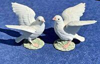 RARE Porcelain PEACE WHITE DOVE PIGEONS Love Birds Boy Girl Figurine SET ❤️sj8j2