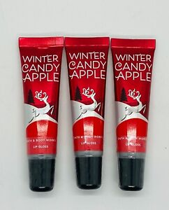 3-Pack Bath & Body Works WINTER CANDY APPLE Lip Gloss 14 ml/0.47 ml Each
