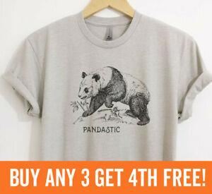 Pandastic Shirt Panda Bear Animal Pun Graphic Tee Unisex XS-XXL
