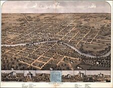 1866 South Bend Indiana map Genealogy atlas poster Saint Joseph county st In 13