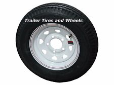 "4.80-12 LRC Loadstar Bias Trailer Tire on 12"" 5 Lug White STP Wheel 4.80x12"