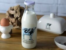 FARMERS MARKET Cow Design GLASS MILK STORAGE BOTTLE 500ml