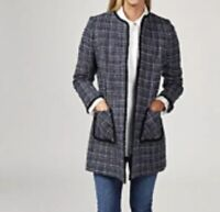 51# Helene Berman Metallic Textured Edge To Edge Tweed Jacket Size 12 RRP£129