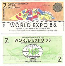 Australia World Expo 2 Dollars 1988 Brisbane UNC Bicentenary Banknote