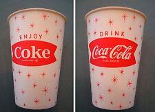 2 COUNT VINTAGE 6OZ DRINK COCA COLA COKE FISHTAIL LOGO WAX PAPER CUPS 1960S