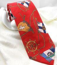 """LANDS' END Men's Cotton Tie Nautical Ship Wheel Flag 3.5""""x 58"""" Red Multicolor"""