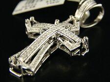 14K White Gold Si Pave Diamond Cross Pendant 1.0 Ct