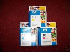HP 10 Ink  Set of 3 =1 x Cyan Magenta Yellow Date 2006 - 2008 Genuine Original
