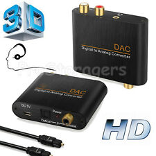 Digital to Analog Audio Converter Adapter 3.5mm Jack RCA Optical Cable Coaxial