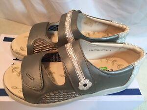 Padders Womens Graceful Open Toe Leather Grey Sandals UK 4 / EU 37 rrp £70