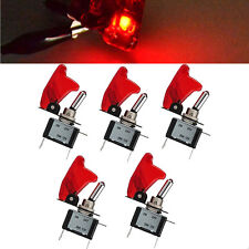 5 Pcs 12V 20A Red Cover LED Light Rocker Toggle Switch SPST ON/OFF Car Truck