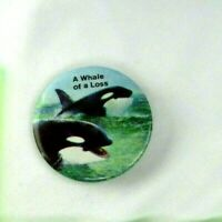 Vintage 1970s A Whale Of A Loss  Pin Back Button 2 1/4 Inch Made USA Orca killer