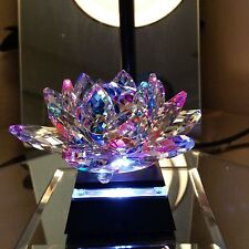 "Large Laser Cut 5"" Multicolor Crystal Lotus Flower Paperweight + LED Light Base"