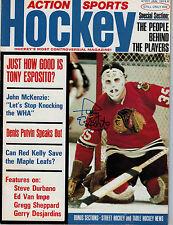 Tony Esposito Signed Action Sports Hockey Magazine Jan 1974 - Chicago Blackhawks