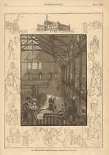 American Horse Exchange, Horse Auction, Sale, w Text, 1881 Antique Art Print