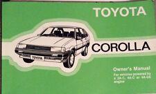 TOYOTA COROLLA OWNER'S MANUAL 1983-1987