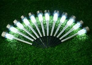 10x Solar Power LED Stake Lights Patio Outdoor Garden Lawn Path Lamp White