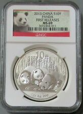 2013 SILVER CHINA 10 YUAN PANDA NGC MINT STATE 69 FIRST RELEASES