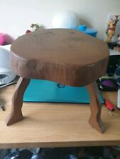 """BEAUTIFUL VINTAGE HANDMADE COTTAGE STOOL MADE FROM TREE SLICE 13"""" W X 11"""" H"""