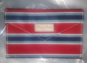 Dooney and Bourke Flap slim Envelope Clutch Striped Red Blue