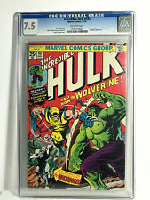 THE INCREDIBLE HULK #181 CGC 7.5 O/WHITE PAGES-1ST FULL APP WOLVERINE-VERY HOT!!