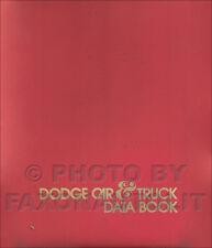 1973 Dodge Data Book Dealer Album Challenger Dart Coronet Charger Pickup Van Etc