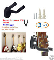 3-PACK Guitar Hanger Hook Holder Wall Mount Display Acoustic or Electric. GRJ-Q3