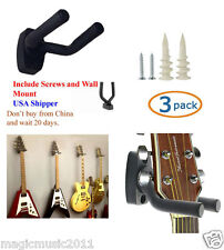 3-PACK Guitar Hanger Hook Holder Wall Mount Display Acoustic or Electric. G